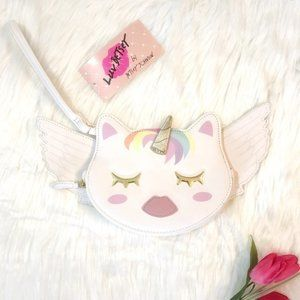 NWT Betsey Johnson Unicorn Cat Wings Wristlet